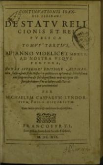 Continuationis Ioannis Sleidani de statu religionis et reipublicae tomus 3. (1595-1609)