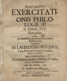 Bono cum Deo: Exercitationis philologicae. In Psalmum XXII...