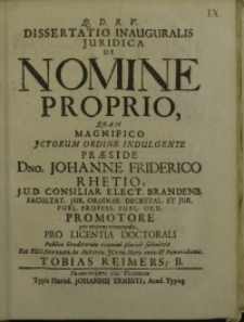 Dissertatio Inauguralis Iuridica De Nomine Proprio... Johanne Friderico Rhetio...