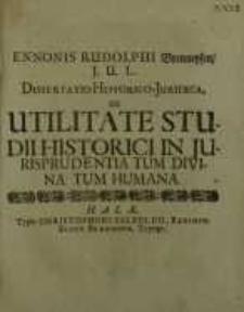 Dissertatio historico-juridica, De utilitate studii historici in jurisprudentia tum divina tum humana