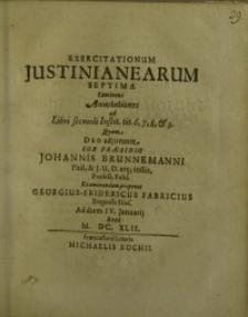 Exercitationum Justinianearum septima...