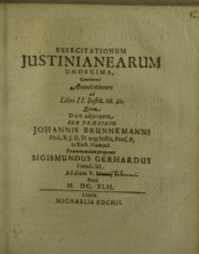 Exercitationum Justinianearum undecima...