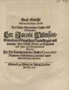 Grab-Gedicht auff den tödtlichen Hintrit des edlen...Hn. Jacobi Wilmson...gnaden Hn. Lorentz von der Linde...