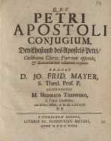 Petri Apostoli Conjugium = den Ehestand des Apostels Petri, Coelibatus Cleric....
