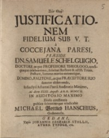 Justificationem fidelium sub V. T. a Coccejana paresi...