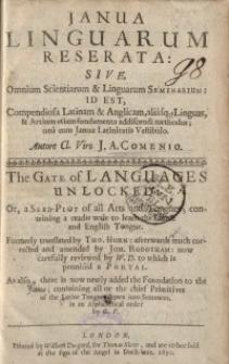 Janua linguarum reserata, sive Omnium scientiarum et linguarum seminarium : id est, compendiosa Latinam et Anglicam...