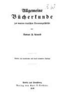 Allgemeine Bücherkunde zur neueren Literaturgeschichte