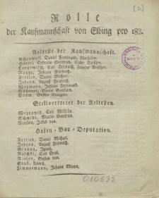 Rolle der Kaufmannschaft von Elbing pro 1825/26