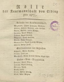 Rolle der Kaufmannschaft von Elbing pro 1826/27