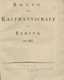 Rolle der Kaufmannschaft von Elbing pro 1829/30