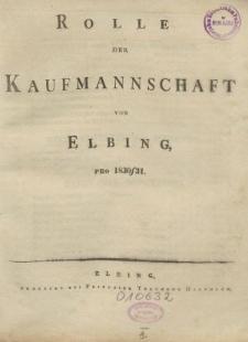 Rolle der Kaufmannschaft von Elbing pro 1830/31