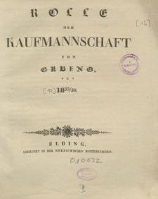Rolle der Kaufmannschaft von Elbing pro 1835/36
