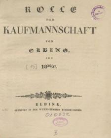 Rolle der Kaufmannschaft von Elbing pro 1836/37