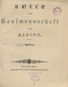 Rolle der Kaufmannschaft von Elbing pro 1837/38
