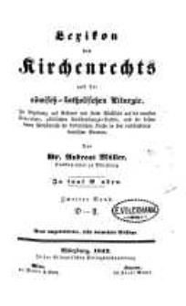Lexikon des Kirchenrechts und der römisch-katholischen Liturgie. Bd. 2 - D-F