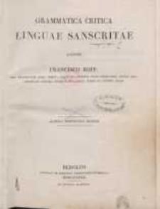 Grammatica critica linguae sanscritae
