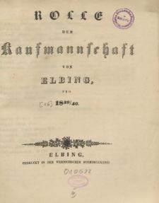 Rolle der Kaufmannschaft von Elbing pro 1839/40