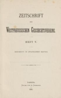 Zeitschrift des Westpreußischen Geschichtsvereins, 1881, H. 5