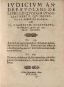 Iudicium Andreae Volani de libello quodam Stanislai Rescii, qui inscribitur Ministromachia ...