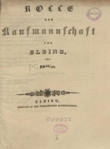 Rolle der Kaufmannschaft von Elbing pro 1841/42