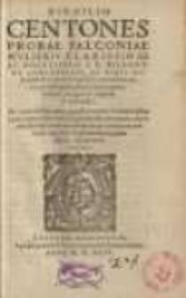 Virgilio Centones Probae Falconiae ... per Ioannem Plateanum...