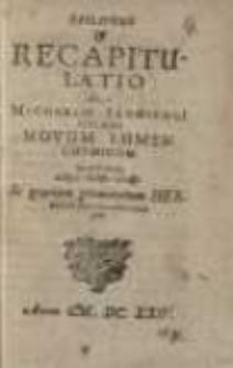 Epilogus et recapitulatio in Michaelis Sendivogi poloni novum lumen chymicum ...