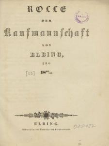 Rolle der Kaufmannschaft von Elbing pro 1846/47