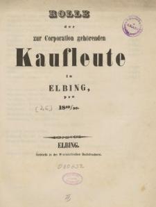 Rolle der Kaufmannschaft von Elbing pro 1850/51