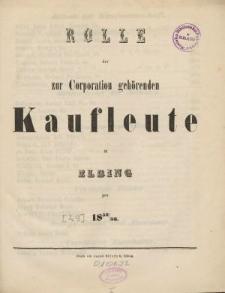 Rolle der Kaufmannschaft von Elbing pro 1852/53
