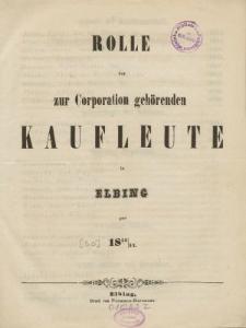 Rolle der Kaufmannschaft von Elbing pro 1853/54
