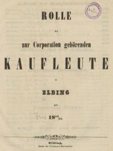 Rolle der Kaufmannschaft von Elbing pro 1854/55