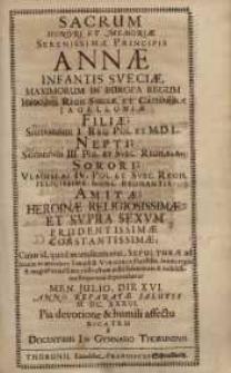 Sacrum honori et memoriae serenissimae principis Annae infantis ..