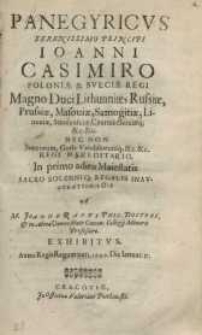 Panegyricus [...] Ioanni Casimiro Poloniae & Sveciae Regi ...