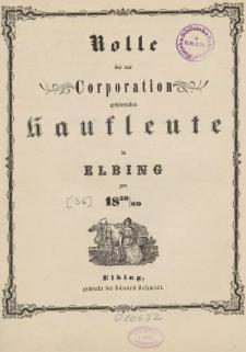 Rolle der Kaufmannschaft von Elbing pro 1859/60