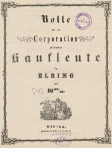 Rolle der Kaufmannschaft von Elbing pro 1860/61