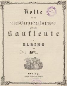 Rolle der Kaufmannschaft von Elbing pro 1861/62