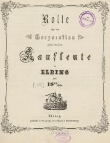 Rolle der Kaufmannschaft von Elbing pro 1862/63