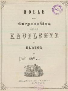Rolle der Kaufmannschaft von Elbing pro 1863/64