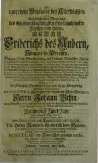 Als unter dem Beystande des Allerhöchsten [...] Herrn Friedrichs des Andern Königes in Preussen...