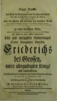 Kurzer Beweis: das Recht der Prävention oder des Zuvorkommens [...] Friedrichs des Grossen ...