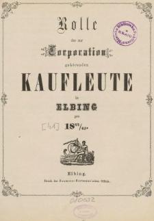 Rolle der Kaufmannschaft von Elbing pro 1864/65