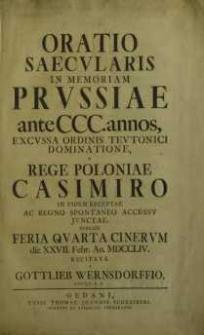Oratio saecularis in memoriam Prussiae[...] Rege Poloniae Casimiro... ; Cantate bey dem Jubelfeste... ; Das befreyte Preußen an