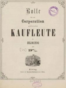 Rolle der Kaufmannschaft von Elbing pro 1866/67