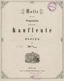 Rolle der Kaufmannschaft von Elbing pro 1868/69