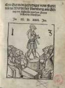 Eyn Sermon geprediget vom Pawren zu Werdt, bey Nürmberg, am Sontag vor Fassnacht, von dem freyen willen des Menschen