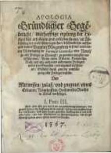 Apologia : Gründlicher Gegenbericht, warhafftige erzelung der Histori des erhabenen [...] Benedict Morgenstern...