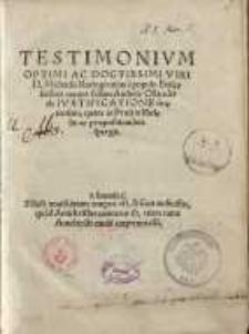 Testimonium Optimi Ac Doctissimi Viri D. Michaelis Rotingi unius e populo Ecclesiastico contra falsam Andreae Osiandri de ...