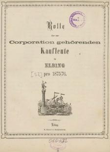 Rolle der Kaufmannschaft von Elbing pro 1875/76