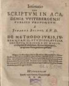 Intimatio seu scriptum in Academia Witebergensi publice propositum