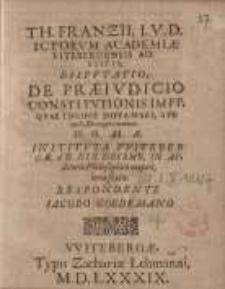 Disputatio, de praeiudicio constitutionis impp. quae incipit diffamari, sub tit. C. De ingen: manum ...
